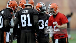 BEREA, OH - MAY 26, 2015: Quarterback Johnny Manziel #2 of the Cleveland Browns delivers a play call to the huddle during a mini camp practice on May 26, 2015 at the Cleveland Browns Training Facility in Berea, Ohio. (Photo by Nick Cammett/Diamond Images/Getty Images)  *** Local Caption *** Johnny Manziel