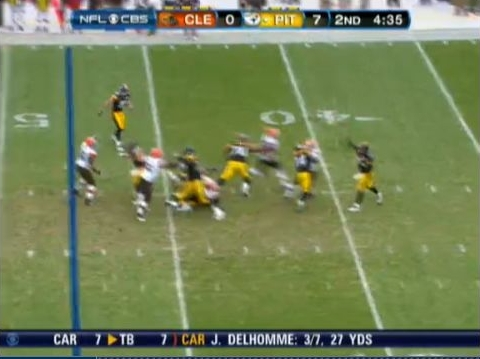 Ball is away and Mendenhall has mission accomplished. Great blitz pickup and play results in a touchdown.