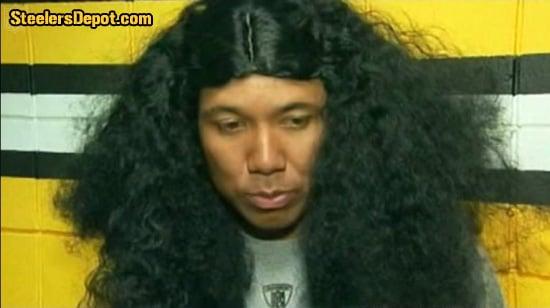 Hines Ward wearing Troy Polamalu Wig