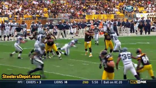 Raheem Brock hit on Ben Roethlisberger 1