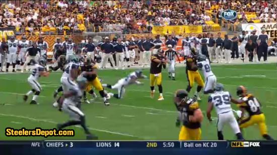 Raheem Brock hit on Ben Roethlisberger 3