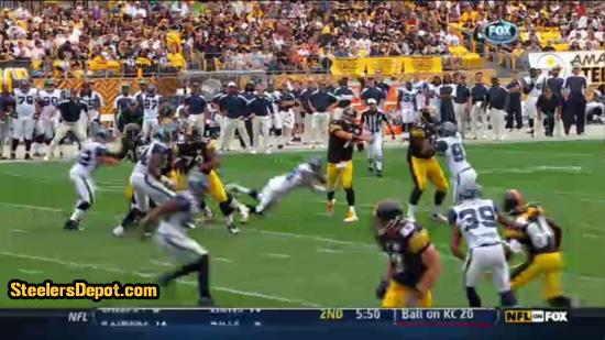 Raheem Brock hit on Ben Roethlisberger 5
