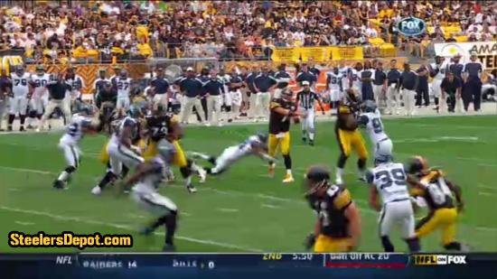 Raheem Brock hit on Ben Roethlisberger 6