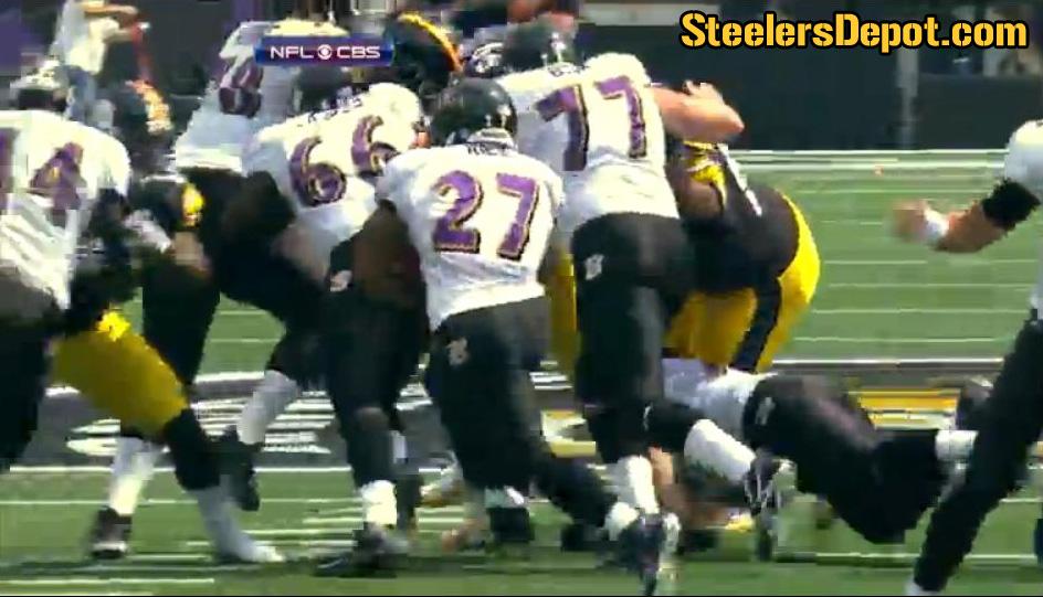 Casey Hampton Chop Blocked By Marshal Yanda Ravens Steelers
