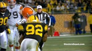 Steelers LB James Harrison helmet-to-helmet hit on Browns QB Colt McCoy
