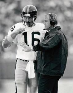 Steelers quarterback Mark Malone and Coach Chuck Knoll
