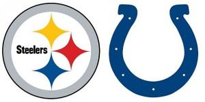 Steelers versus Colts logos