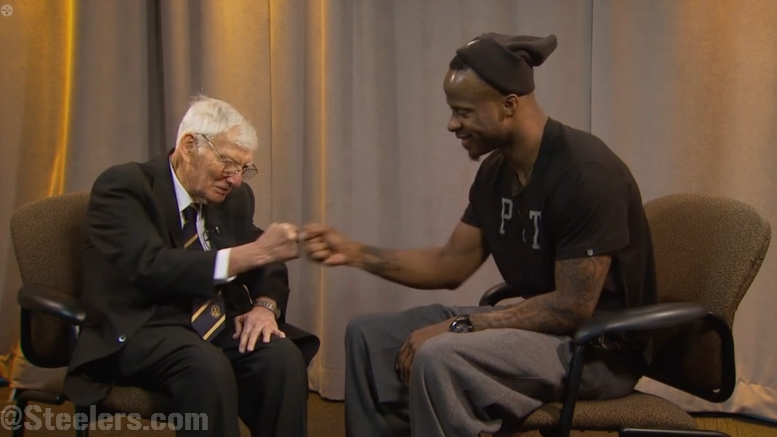 Pittsburgh corner Ike Taylor and owner Dan Rooney