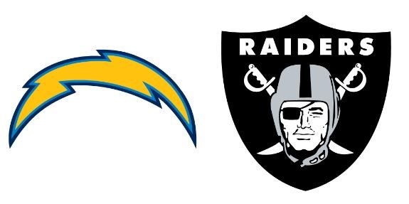 Chargers versus Raiders logo