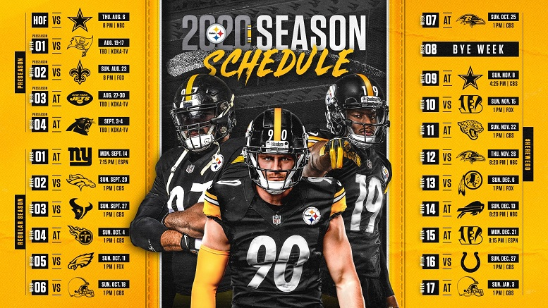 Steelers 2020 Schedule Includes Four Primetime Games - Steelers Depot